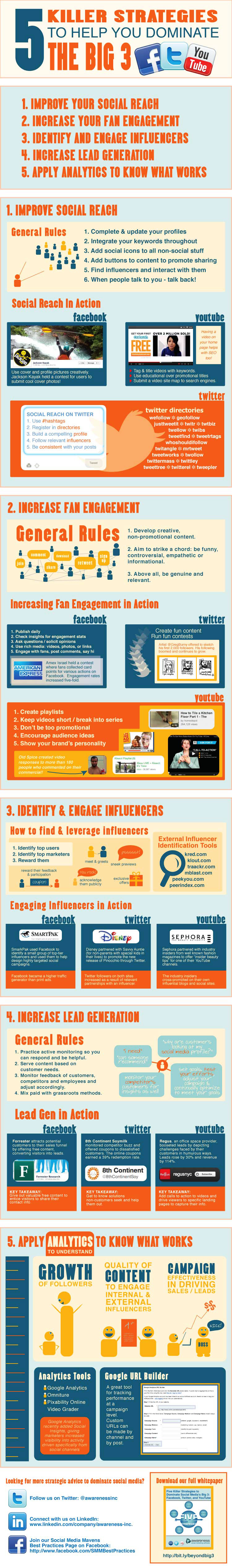 How to Dominate Facebook Twitter YouTube Infographic