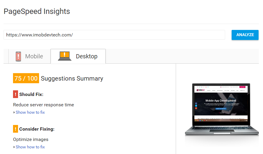 Page Speed trend in  with Google Tool